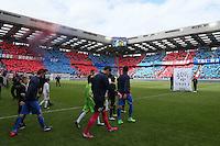 Entree des joueurs   / Remy VERCOUTRE / Supporters Caen / Tifo - 09.05.2015 -  Caen / Lyon  - 36eme journee de Ligue 1<br />Photo : Vincent Michel / Icon Sport