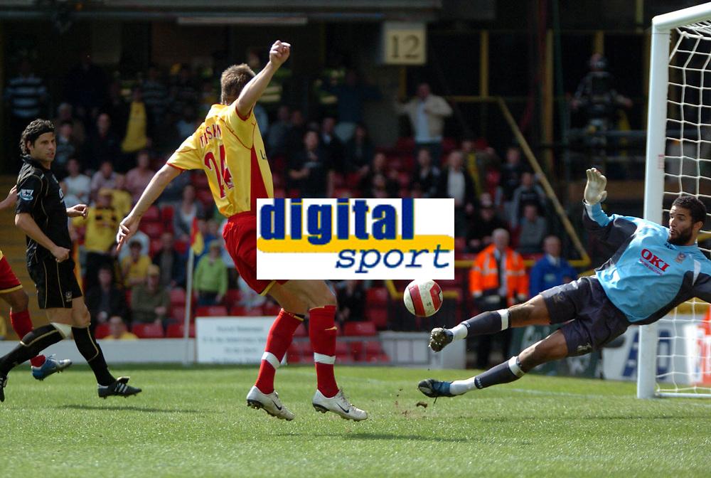 Photo: Tony Oudot.<br />Watford v Portsmouth. The Barclays Premiership. 09/04/2007.<br />Tamas Priskin of Watford scores the third goal
