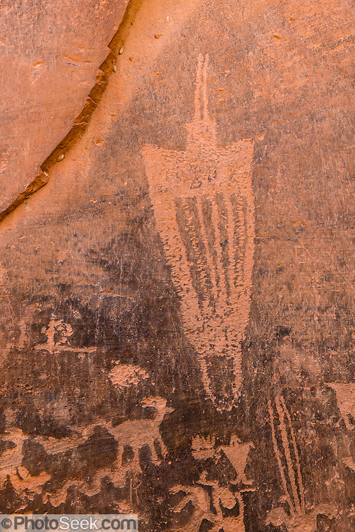 Petroglyphs on Moonflower Panel, at mouth of Moonflower Canyon on BLM land, Moab Kane Creek Blvd, Moab, Utah, USA. The BLM (Bureau of Land Management) is part of the United States Department of the Interior.