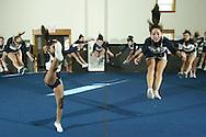 Pine Bush cheerleaders practice in Pine Bush on Feb. 21, 2008.