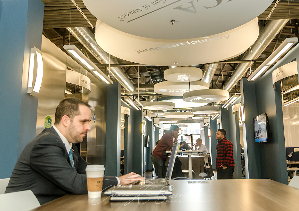 Jason Pappafotis, senior physicist at Alion Science and Technology in Washington, D.C., uses one of the shared workspaces at the Nashville Entrepreneur Center, Jan. 6, 2015, in Nashville, Tenn. The Entrepreneur Center has become the nucleus of a burgeoning startup movement — largely led by Millennials — in the city. (Photo by Carmen K. Sisson/Cloudybright)