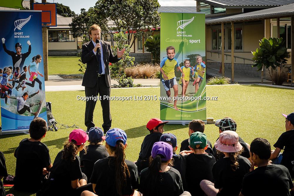 Sports Minister Hon Dr Jonathan Coleman speaks at Sport NZ Strategy Launch, Lyall Bay School, Wellington, New Zealand. Friday 20 March 2015. Copyright Photo: Mark Tantrum/www.Photosport.co.nz
