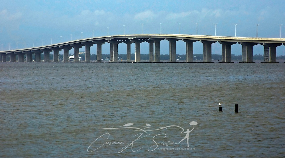 The Bay Saint Louis Bridge is pictured, Sept. 2, 2008, in Bay Saint Louis, Mississippi. The bridge was re-opened in May 2008 after being destroyed by Hurricane Katrina, August 29, 2005. (Photo by Carmen K. Sisson/Cloudybright)