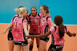 20180110 NED: CEV CUP Sliedrecht Sport - Beziers Angels VB: Sliedrecht<br />Beziers Angels VB celebrate a point<br />©2018-FotoHoogendoorn.nl / Pim Waslander