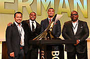 Dec 20, 2018; San Antonio, TX, USA; Men's winner Michael Norman of Southern California (second from right) poses with Daniel Escamilla (left), 2017 winner  Christian Coleman of Tennessee (second from left) and manager Emanuel Hudson (right) at the 10th Bowerman Awards at the JW Marriott San Antonio Hill Country Resort & Spa.