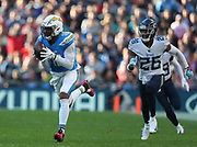 LONDON, ENGLAND - OCTOBER 21: wide receiver Tyrell Williams (16) of The Chargers runs through to score a touchdown during the NFL game between Tennessee Titans and Los Angeles Chargers at Wembley Stadium on October 21, 2018 in London, United Kingdom. (Photo by Mitchell Gunn/Pro Lens Photo Agency) *** Local Caption *** Tyrell Williams