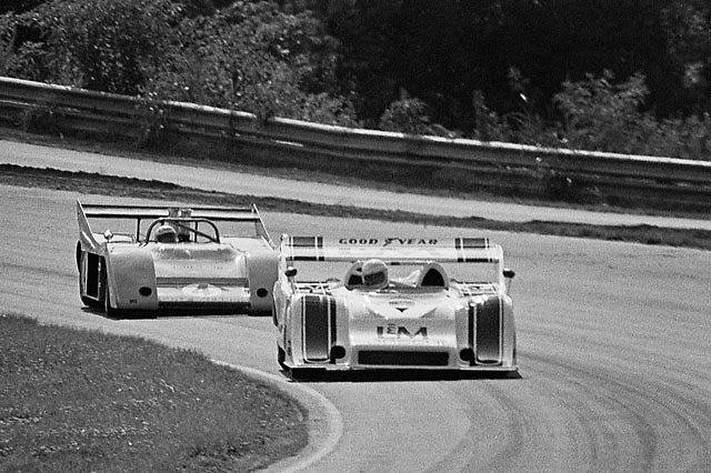 Eventual season Champion George Follmer (Porsche 917/10K) leads defending Champion Peter Revson (McLaren M20-Chevrolet) during PRACTICE at Road Atlanta Can-am 1972; photo by Pete Lyons / www.petelyons.com
