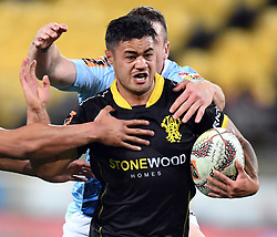 Wellington's Kemara Hauiti-Parapara taken in tackles by Northland in the Mitre 10 Semi Final Rugby match at Westpac Stadium, Wellington, New Zealand, Friday, October 20, 2017. Credit:SNPA / Ross Setford  **NO ARCHIVING**