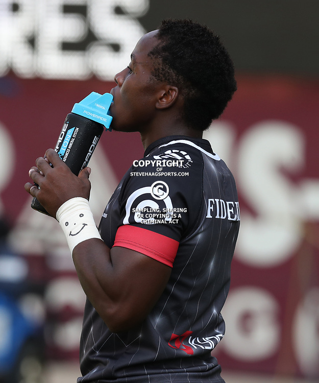 DURBAN, SOUTH AFRICA - APRIL 08: Inny Radebe of the Cell C Sharks during the Super Rugby match between Cell C Sharks and Jaguares at Growthpoint Kings Park on April 08, 2017 in Durban, South Africa. (Photo by Steve Haag/Gallo Images)