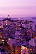 Image of Coit Tower from the St. Francis Hotel overlooking the skyline of San Francisco at dusk, San Francisco, California, America west coast