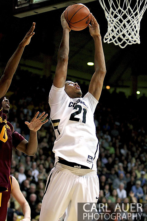 February 16th, 2013 Boulder, CO - Colorado Buffaloes junior forward André Roberson (21) heads to the rim for a shot attempt in the NCAA basketball game between the Arizona State Sun Devils and the University of Colorado Buffaloes at the Coors Events Center in Boulder CO