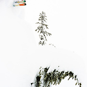 Owen Dudley goes huge during a blizzard at Mt Baker Ski Area