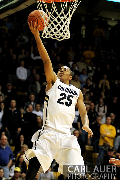 January 12th, 2013: Colorado Buffaloes sophomore guard Spencer Dinwiddie (25) lays up the ball during the NCAA basketball game between the UCLA Bruins and the University of Colorado Buffaloes at the Coors Events Center in Boulder CO