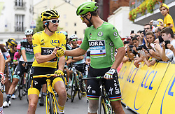 July 29, 2018 - Paris Champs-Elysees, France - PARIS CHAMPS-ELYSEES, FRANCE - JULY 29 : THOMAS Geraint (GBR) of Team SKY & SAGAN Peter (SVK) of Bora - Hansgrohe during stage 21 of the 105th edition of the 2018 Tour de France cycling race, a stage of 116 kms between Houilles and Paris Champs-Elysees on July 29, 2018 in Paris Champs-Elysees, France, 29/07/18  (Credit Image: © Panoramic via ZUMA Press)
