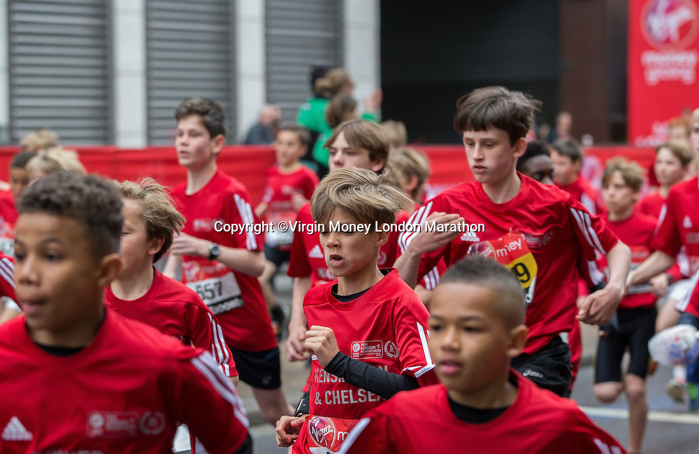Mini London marathon 2015, The Borough Challenge Boys Under 13 start. Romeo Beckham (12), son of David and Victoria Beckham. The Virgin Money Giving Mini Marathon, Sunday 26th April 2015.<br />