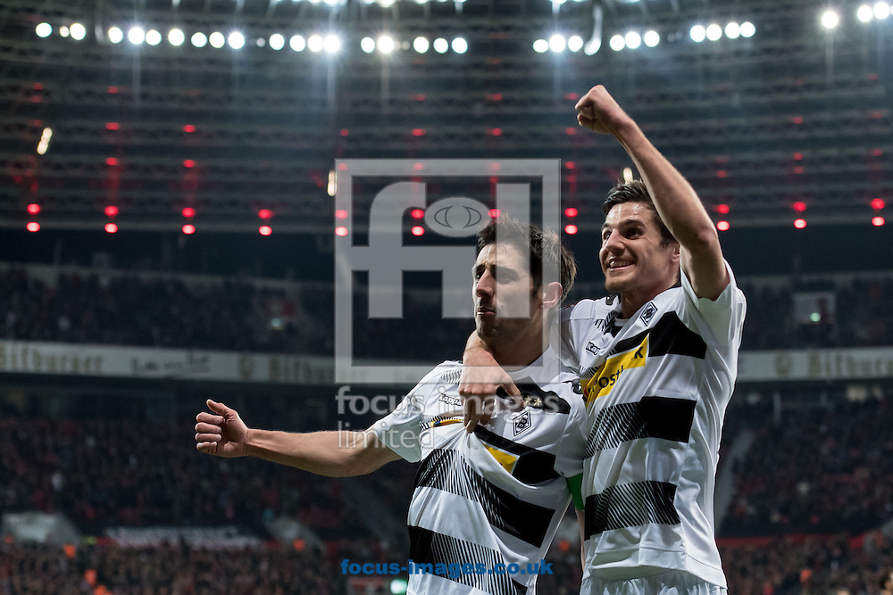 Lars Stindl (c) of Borussia Monchengladbach celebrates scoring his second goal against Bayer Leverkusen with  Jonas Hofmann during the Bundesliga match at BayArena, Leverkusen<br /> Picture by EXPA Pictures/Focus Images Ltd 07814482222<br /> 28/01/2017<br /> *** UK &amp; IRELAND ONLY ***<br /> <br /> EXPA-EIB-170128-1319.jpg