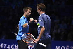 November 19, 2017 - London, England, United Kingdom - Henri Kontinen of Finland and John Peers of Australia celebrate victory following the doubles final against Marcelo Melo of Brazil and Lukasz Kubot of Poland during day eight of the 2017 Nitto ATP World Tour Finals at O2 Arena on November 19, 2017 in London, England. (Credit Image: © Alberto Pezzali/NurPhoto via ZUMA Press)
