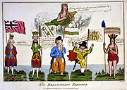 The Belligerent Plenipo's:, cartoon by Thomas Colley, London, 1782. Left George III with half crown, right America, with other half of crown and 'I have got all I wanted'. In middle, France, Holland and Spain who lost by helping America to Independence.