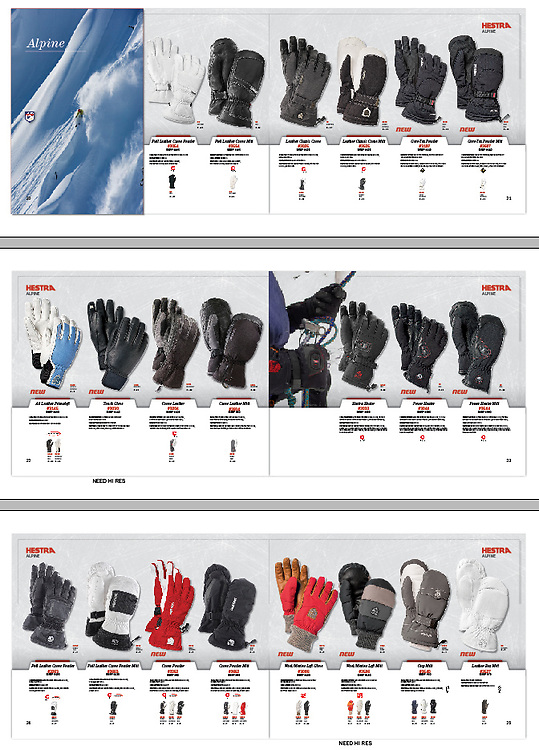 An image of a Hestra Glove that appeared in their winter/alpine catalogue.  The shot was taken on the ice climb The Direct North Face near Silverton Colorado