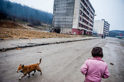 "A child and a dog walking ""Hrebendova Street"" at Lunik IX. On the left side is a huge blank gap where was standing a decrepit building which was demolished by the city of Kosice in the end of 2013. The building was torn down by the city out of security reasons. Lunik IX is populated with almost 100% Roma inhabitans and in the western-central part of the city of Kosice located in Eastern Slovakia."