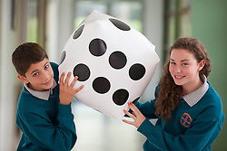 Repro Free: 17/10/2012 .Adrian Mihutescu and Clare Hanley from Hartstown Community School pictured during the Institute of Technology Blanchardstown (ITB) exciting mathematics workshop titled 'Maths and Sport: Countdown to the Games, for Maths week taking place onsite from the 15th -19th of October. The project promises to make maths fun for over 280 first year students from local secondary Schools. Pic Andres Poveda