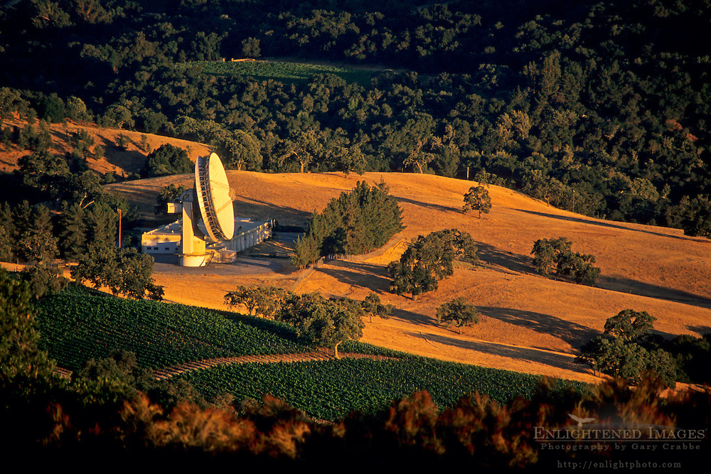 Communications Satellite Antenna and vineyards along Cachagua Road, Monterey County, California