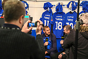AFC Wimbledon striker James Hanson (18) talking to Martin Keown during the The FA Cup 5th round match between AFC Wimbledon and Millwall at the Cherry Red Records Stadium, Kingston, England on 16 February 2019.