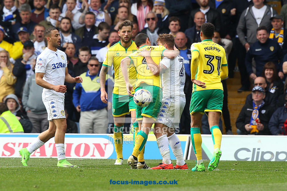 Tempers flare after Graham Dorrans of Norwich and Gaetano Berardi of Leeds United clash during the Sky Bet Championship match at Elland Road, Leeds<br /> Picture by Paul Chesterton/Focus Images Ltd +44 7904 640267<br /> 29/04/2017