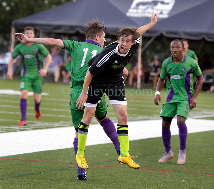 20 June 2015. New Orleans, Louisiana.<br /> National Premier Soccer League. NPSL. <br /> Jesters 1 - Knoxville 1.<br /> The New Orleans Jesters play Knoxville Force at home in the Pan American Stadium. Jesters drew 1-1 with Knoxville.<br /> Photo; Charlie Varley/varleypix.com