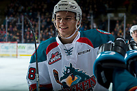 KELOWNA, CANADA - FEBRUARY 12:  Carsen Twarynski #18 of the Kelowna Rockets celebrates a second period goal against the Victoria Royals on February 12, 2018 at Prospera Place in Kelowna, British Columbia, Canada.  (Photo by Marissa Baecker/Shoot the Breeze)  *** Local Caption ***