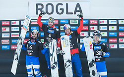 Podium: 1st. Prommegger Andreas, 2nd. Coratti Edwin, 3th. Karl Benjamin, 4th. March Aaron FIS snowboarding world cup race in Rogla (SI / SLO) | GS on January 20, 2018, in Jasna Ski slope, Rogla, Slovenia. Photo by Urban Meglic / Sportida