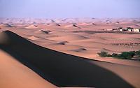 Giant sand dunes of the Sahara Desert on the edge of Chinguetti, Mauritania
