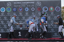 1 Team Valkenswaard United, Allen Bertram, (IRL), Whitaker John, (GBR), 2 Team Antwerp Diamonds, Smolders Harrie, (NED), Coulter Audrey, (USA), 3 Team Rome Gladiators, Kraut Laura, (USA), Modolo Zanotelli Marlon, (BRA)<br /> Global Champions League of Hamburg - GCL Team Competition<br /> Hamburg - Hamburger Derby 2016<br /> © Hippo Foto - Stefan Lafrentz