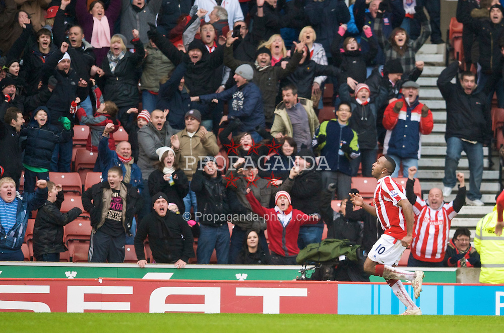 STOKE, ENGLAND - Sunday, January 24, 2010: Stoke City's Ricardo Fuller celebrates scoring the second goal against Arsenal during the FA Cup 4th Round match at the Britannia Stadium. (Photo by David Rawcliffe/Propaganda)