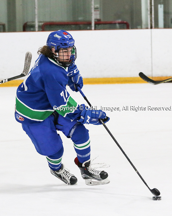 BURLINGTON, ON  - NOV 3,  2017: Ontario Junior Hockey League game between the Toronto Patriots and the Burlington Cougars. Michael Miele #21 of the Burlington Cougars skates with the puck during the third period.<br /> (Photo by Spencer Smye / OJHL Images)