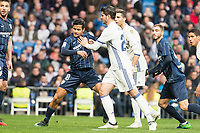 Real Madrid's Alvaro Morata and Malaga CF's Michael Nicolas Santos during La Liga match between Real Madrid and Malaga CF at Santiago Bernabeu Stadium in Madrid, Spain. January 21, 2017. (ALTERPHOTOS/BorjaB.Hojas)