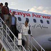 President and CEO of CARE, Helene Gayle, and representative Keith Ellison, arrive in western Kenya, on a Learning Tours trip to Kenya.