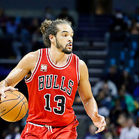 03 November 2015: Chicago Bulls center Joakim Noah (13) dribbles during the Charlotte Hornets  130-105 victory over the Chicago Bulls, at the Time Warner Cable Arena, in Charlotte, North Carolina, USA.