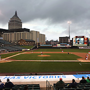 A panoramic view of Frontier Field showing the Kodak building in the background during the Rochester Red Wings V The Scranton/Wilkes-Barre RailRiders, Minor League ball game at Frontier Field, Rochester, New York State. USA. 16th April 2013. Photo Tim Clayton