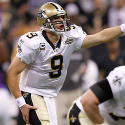 September 9, 2010; New Orleans, LA, USA; New Orleans Saints quarterback Drew Brees (9) during the first quarter against the Minnesota Vikings during the NFL Kickoff season at the Louisiana Superdome. Mandatory Credit: Derick E. Hingle