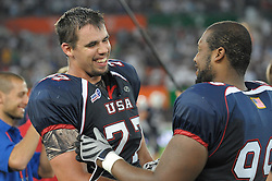 16.07.2011, Ernst Happel Stadion, Wien, AUT, American Football WM 2011, Germany (GER) vs France (FRA), im Bild große Freude bei Dane Wardenburg (USA, #77, OT) und Daniel Calvin (USA, #99, DT) // during the American Football World Championship 2011 game, Germany vs France, at Ernst Happel Stadion, Wien, 2011-07-16, EXPA Pictures © 2011, PhotoCredit: EXPA/ G. Holoubek