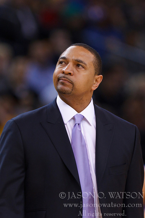 Jan 25, 2012; Oakland, CA, USA; Golden State Warriors head coach Mark Jackson on the sidelines against the Portland Trail Blazers during the fourth quarter at Oracle Arena. Golden State defeated Portland 101-93. Mandatory Credit: Jason O. Watson-US PRESSWIRE
