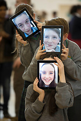 Lara Ni Cuaid, (13), Cabra, Sean Power (12), Ashington and Doireann Ni Cantsaoi (12), Cabra from Colaiste Mhuire Cabra are pictured at SciFest@ITB 2014. Picture Andres Poveda