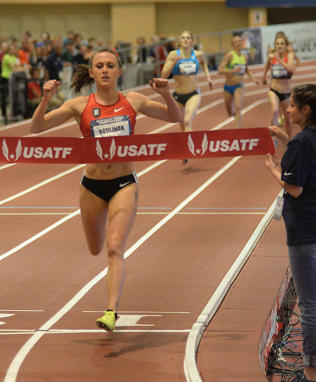 apl030517k/SPORTS/pierre-louis/030517/JOURNAL<br /> Shelby Houlihan,, wins the Women 2 Mile Run during the USA Indoor Track and Field Championships held at the Albuquerque Convention Center.Photographed  on Sunday March 5, 2017. .Adolphe Pierre-Louis/JOURNAL