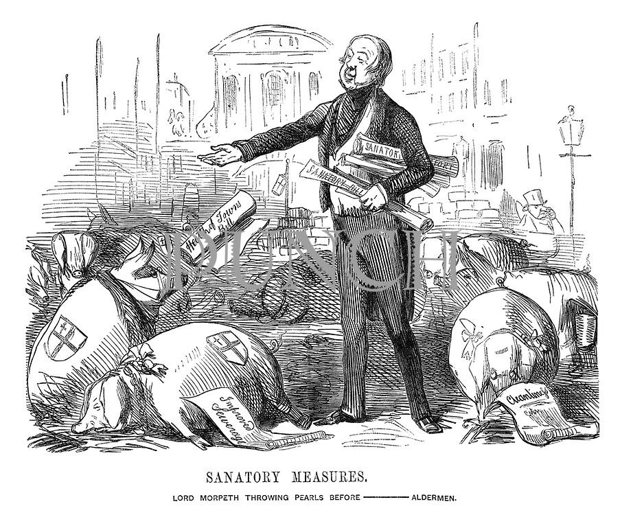 Sanatory Measures. Lord Morpeth Throwing Pearls Before - Aldermen.