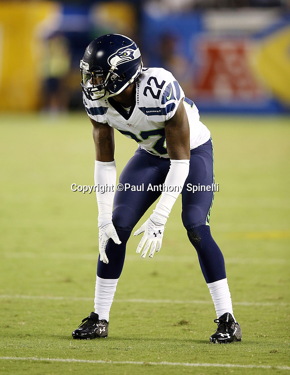 Seattle Seahawks cornerback Tye Smith (22) gets set during the 2015 NFL preseason football game against the San Diego Chargers on Saturday, Aug. 29, 2015 in San Diego. The Seahawks won the game 16-15. (©Paul Anthony Spinelli)