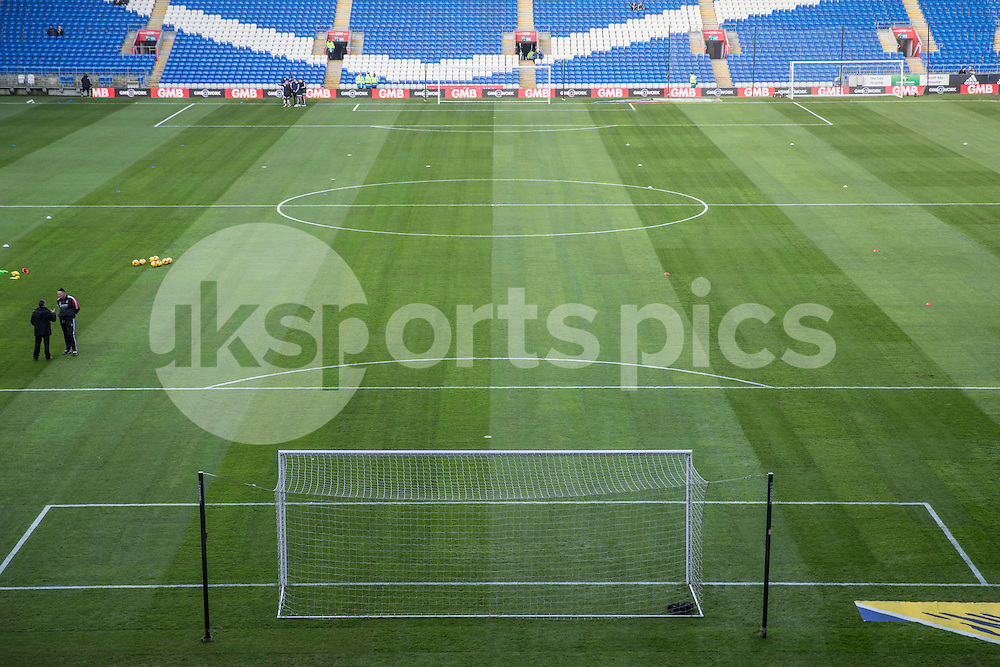 The newly relaid pitch ahead of the Sky Bet Championship match between Cardiff City and Rotherham United at the Cardiff City Stadium, Cardiff, Wales on 23 January 2016. Photo by Mark Hawkins.