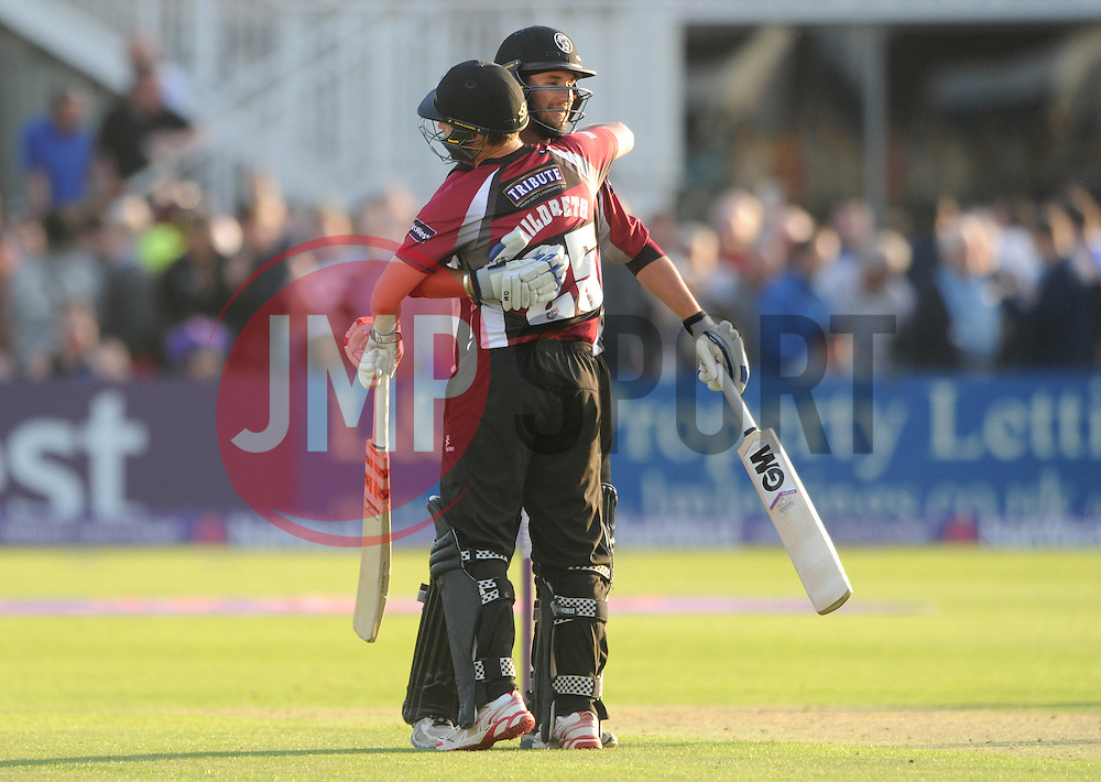 James Hildreth and Lewis Gregory of Somerset celebrate at the end of the game after beating Gloucestershire in the T20 game  - Photo mandatory by-line: Dougie Allward/JMP - Mobile: 07966 386802 - 19/06/2015 - SPORT - Cricket - Bristol - County Ground - Gloucestershire v Somerset - Natwest T20 Blast