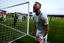 Dan Butler of Newport County celebrates after winning through to the Sky Bet League Two Playoff Final - Mandatory by-line: Robbie Stephenson/JMP - 12/05/2019 - FOOTBALL - One Call Stadium - Mansfield, England - Mansfield Town v Newport County - Sky Bet League Two Play-Off Semi-Final 2nd Leg