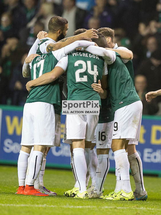 Hibernian FC v Dundee Utd FC<br /> <br /> Lewis Stevenson (Hibernian) is mobbed by team mates after scoring Hibs third goal during the Quarter Final of the Scottish League Cup match between Hibernian and Dundee Utd FC at Easter Road Stadium on Wednesday 4 November 2015.<br /> <br /> <br /> Picture Alan Rennie.